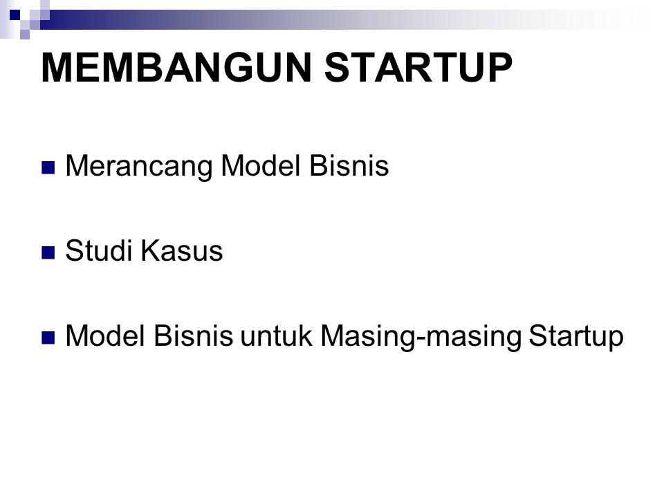 MEMBANGUN STARTUP Merancang Model Bisnis Studi Kasus Model Bisnis untuk Masing-masing Startup