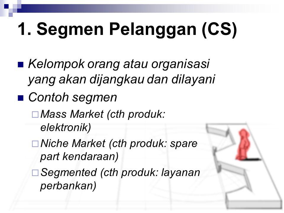Kelompok orang atau organisasi yang akan dijangkau dan dilayani Contoh segmen  Mass Market (cth produk: elektronik)  Niche Market (cth produk: spare