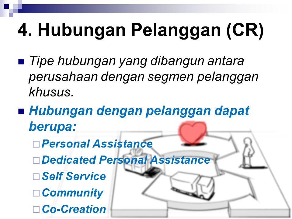 Tipe hubungan yang dibangun antara perusahaan dengan segmen pelanggan khusus. Hubungan dengan pelanggan dapat berupa:  Personal Assistance  Dedicate
