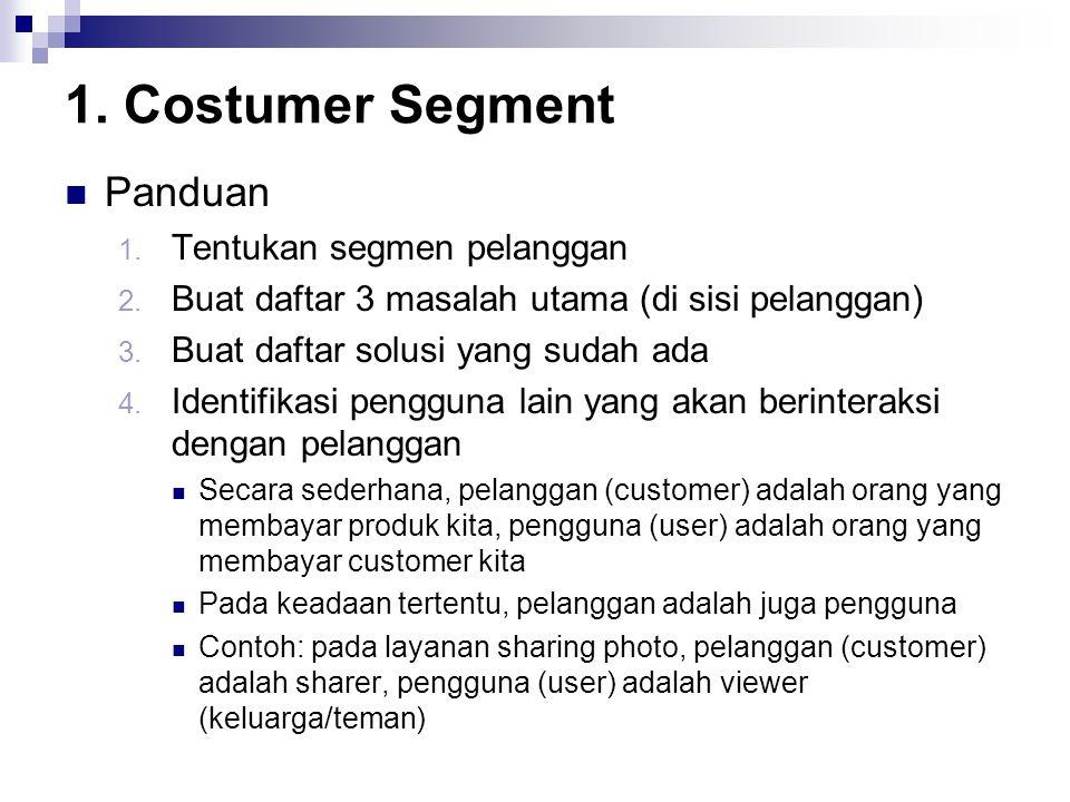 1. Costumer Segment Panduan 1. Tentukan segmen pelanggan 2. Buat daftar 3 masalah utama (di sisi pelanggan) 3. Buat daftar solusi yang sudah ada 4. Id