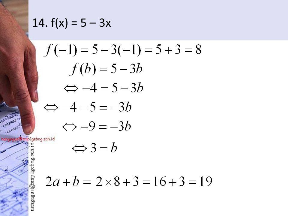 14. f(x) = 5 – 3x