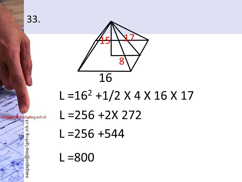 33. L =16 2 +1/2 X 4 X 16 X 17 16 15 8 17 L =256 +2X 272 L =256 +544 L =800
