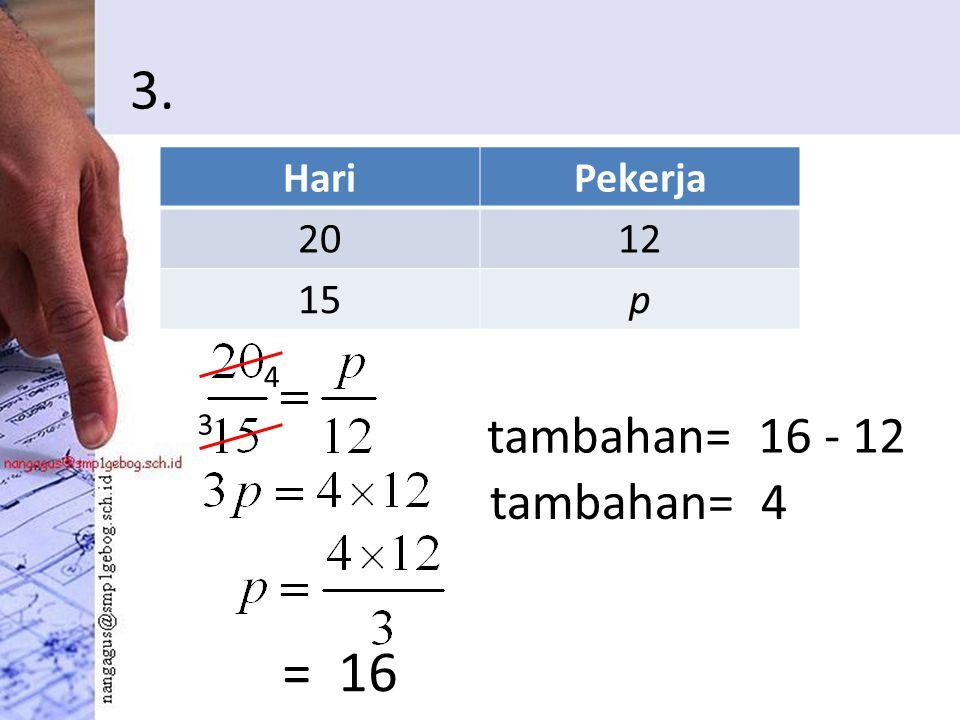 3. = 16 HariPekerja 2012 15p 3 4 tambahan= 16 - 12 tambahan= 4