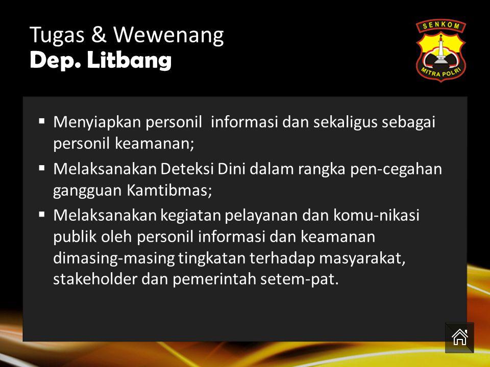 Tugas & Wewenang Dep. PPB Menjadwal dan melaksanakan kegiatan Kam-tibmas; Menjadwal dan melaksanakan kegiatan Kam-tibmas dan Patroli khusus; Monitorin