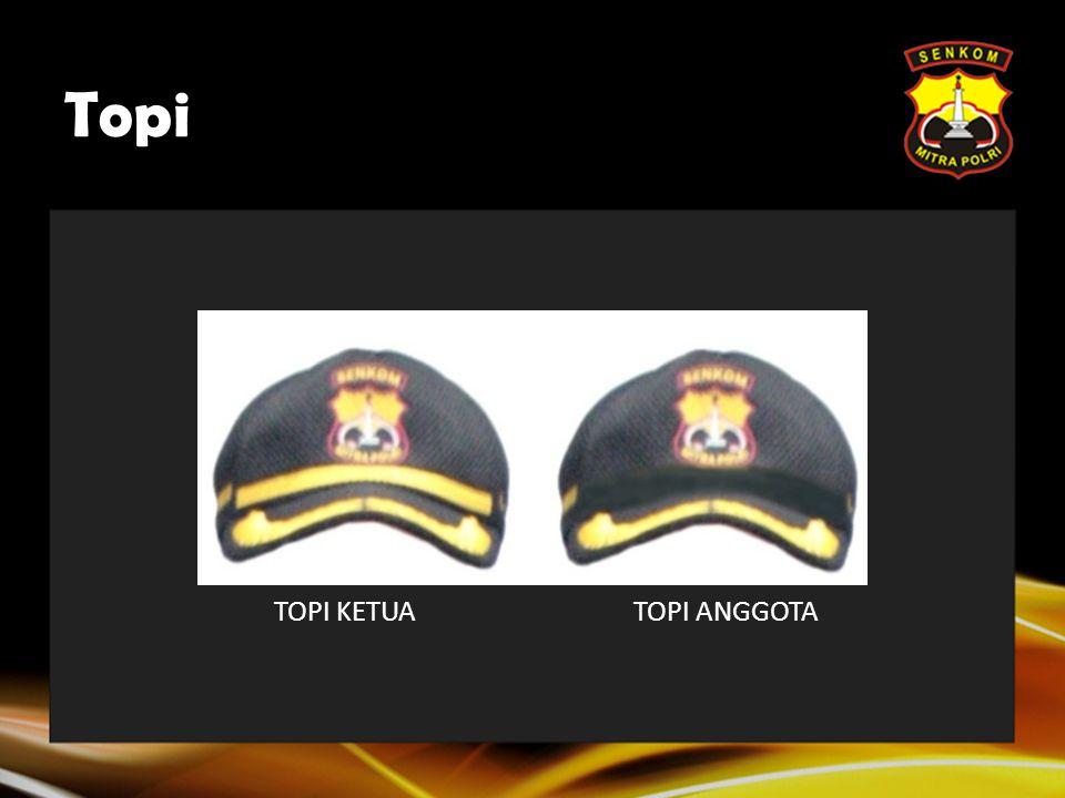 Topi  Topi dengan garis kuning (Topi Ketua) hanya dipakai oleh seluruh Pengurus Pusat SENKOM MITRA POLRI, Ketua Provinsi, Ketua Kab/Kota dan Ketua Ke