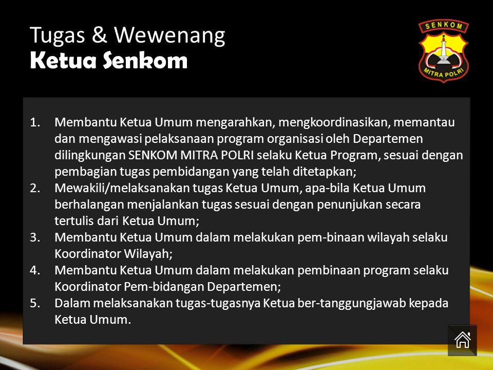Ir.Amir.BS.M.Sc (DEP. OKK) Drs. Subiyanto, SH.MH.MKN (DEP. KUMHAM) Drs.H.Saprudin,M.Si (DEP. LITBANG & DEP.DIKLAT) Tugas & Wewenang Ketua Lukman Abd.