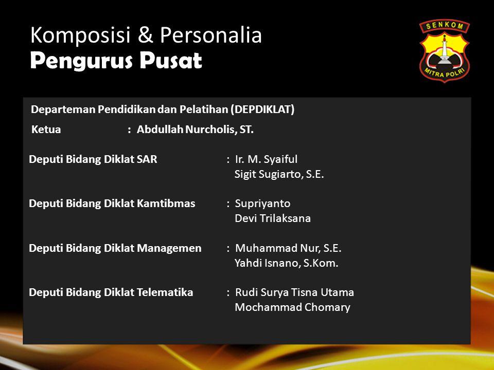 Komposisi & Personalia Pengurus Pusat SEKRETARIS JENDERAL: H. Arif Nurokhim, S.H. Wakil Sekretaris Jenderal: H.M. Taufik Wibisono, S.Si. Wakil Sekreta