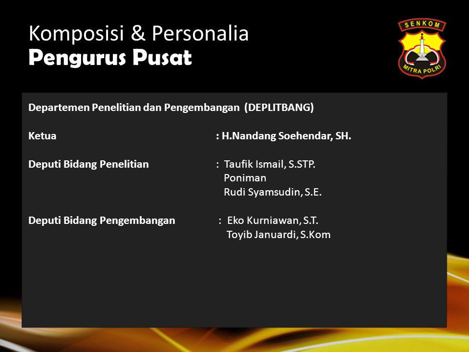 Komposisi & Personalia Pengurus Pusat Departemen Pengamanan dan Penanganan Bencana (DEP. PPB) Ketua: Drs. Dani Amung M. Deputi Bidang Pengamanan : Asw