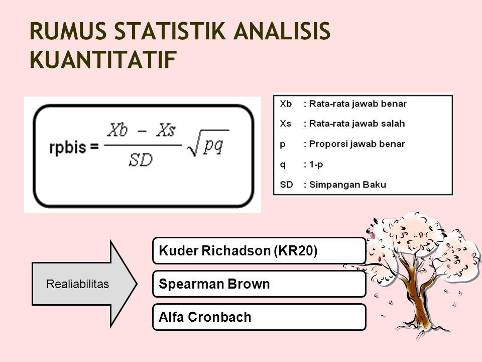 RUMUS STATISTIK ANALISIS KUANTITATIF BA: Jml jwb benar KA BB: Jml jwb benar KB N : Jml Peserta tes