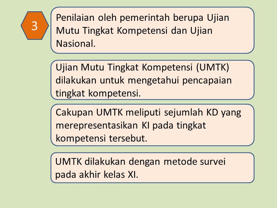 3 Penilaian oleh pemerintah berupa Ujian Mutu Tingkat Kompetensi dan Ujian Nasional.