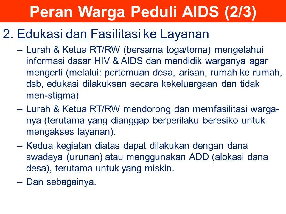 Peran Warga Peduli AIDS (2/3) 2. Edukasi dan Fasilitasi ke Layanan –Lurah & Ketua RT/RW (bersama toga/toma) mengetahui informasi dasar HIV & AIDS dan