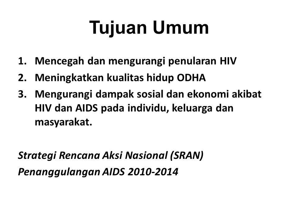 Tujuan Umum 1.Mencegah dan mengurangi penularan HIV 2.Meningkatkan kualitas hidup ODHA 3.Mengurangi dampak sosial dan ekonomi akibat HIV dan AIDS pada