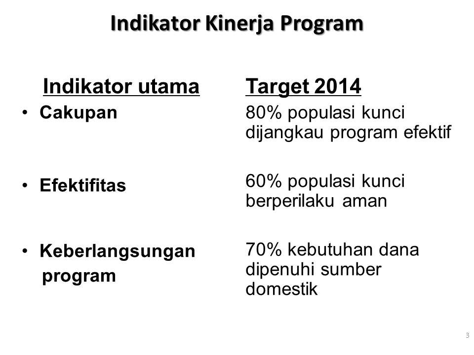 Indikator Kinerja Program Indikator utama Cakupan Efektifitas Keberlangsungan program Target 2014 80% populasi kunci dijangkau program efektif 60% pop