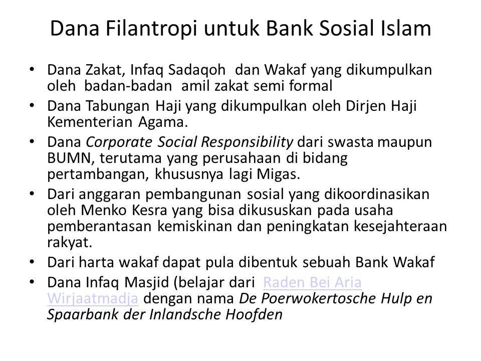 Dana Filantropi untuk Bank Sosial Islam Dana Zakat, Infaq Sadaqoh dan Wakaf yang dikumpulkan oleh badan-badan amil zakat semi formal Dana Tabungan Haj