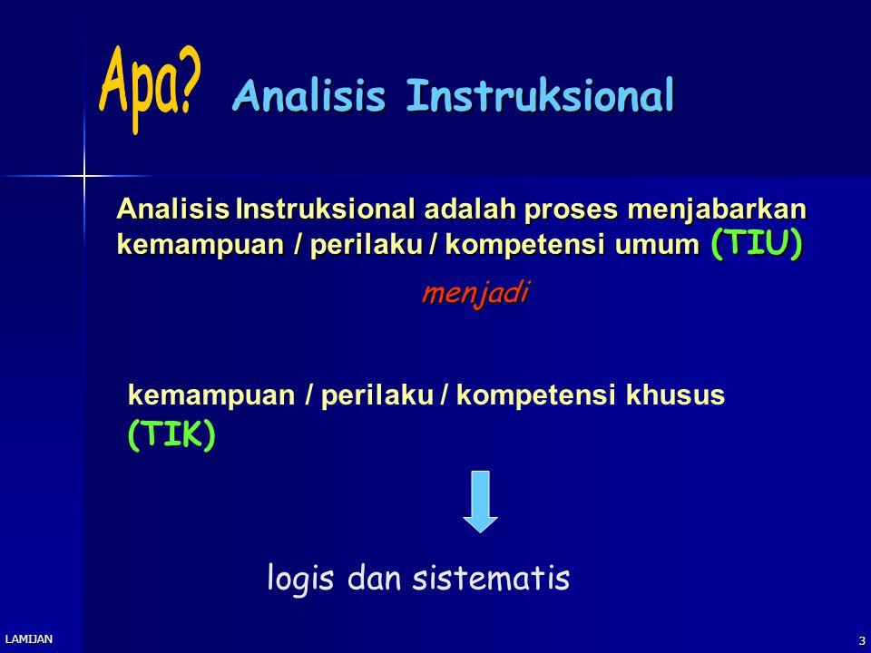 2 Tujuan Instruksional Umum Peserta pelatihan diharapkan dapat membuat bagan analisis instruksional untuk mata kuliah yang dibina Peserta pelatihan di