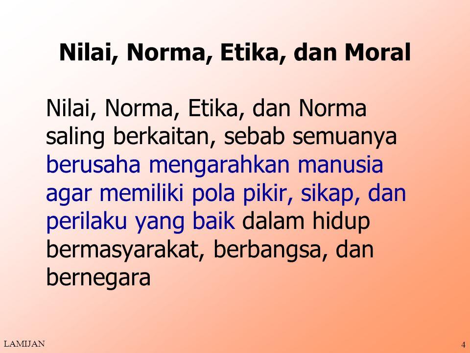 14 ETIKA SEBAGAI CABANG FILSAFAT ETIKA adalah Cabang Filsafat, yakni Filsafat Moral atau Filsafat Kesusilaan Tiga Macam Filsafat Moral (Etika): 1.Etika Deskriptif 2.Etika Normatif 3.Etika Kefilsafatan (Hakikat) LAMIJAN
