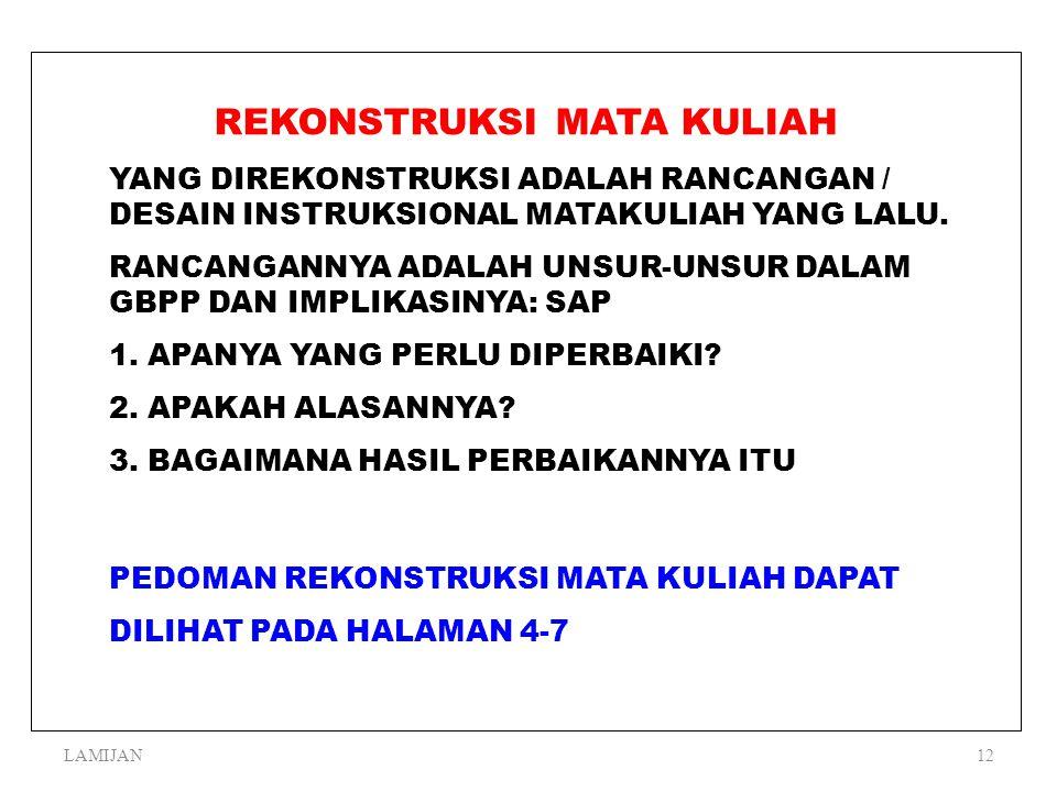 LAMIJAN11 RANGKUMAN 1.KITA PERLU MEREKONSTRUKSI MATA KULIAH KARENA BERBAGAI ALASAN 2.PROSES REKONSTRUKSI MATA KULIAH TERDIRI ATAS PROSES PENGAMATAN, P