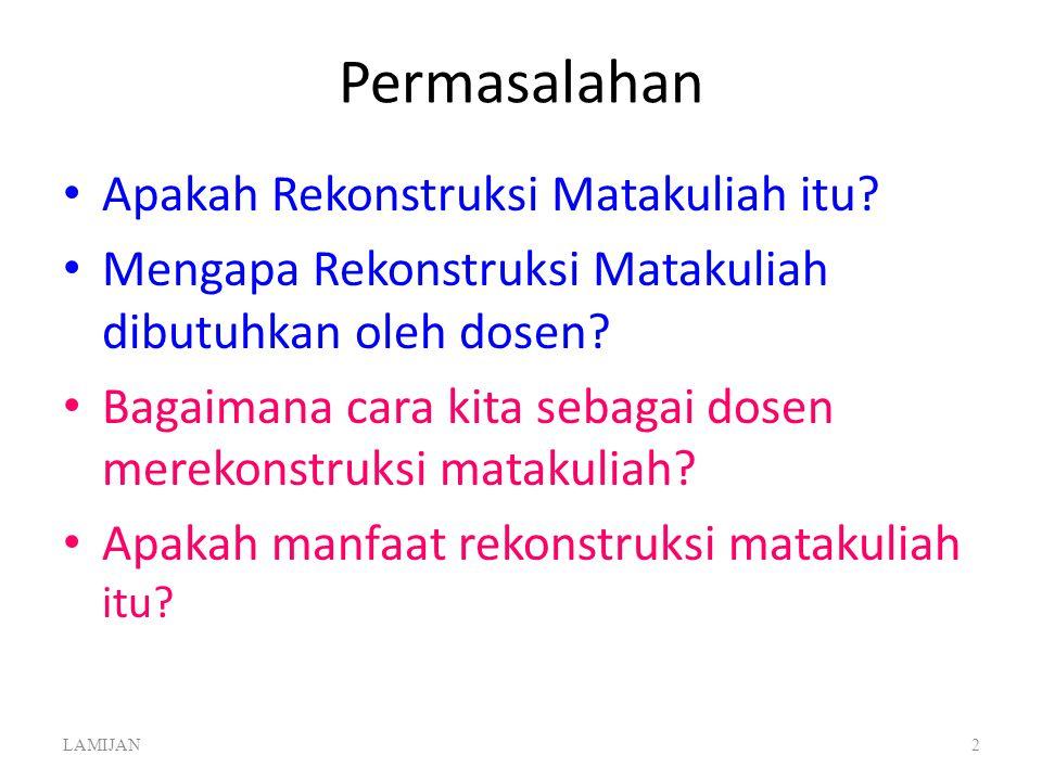 REKONSTRUKSI MATA KULIAH Oleh Drs. LAMIJAN, S.H., M.Si Tim Fasilitator PEKERTI dan AA KOPERTIS WILAYAH VI JAWA TENGAH Salatiga, 10-14 Mei 2013 LAMIJAN