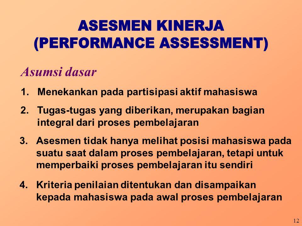 12 Asumsi dasar 1.Menekankan pada partisipasi aktif mahasiswa 2.Tugas-tugas yang diberikan, merupakan bagian integral dari proses pembelajaran 3.Asesm