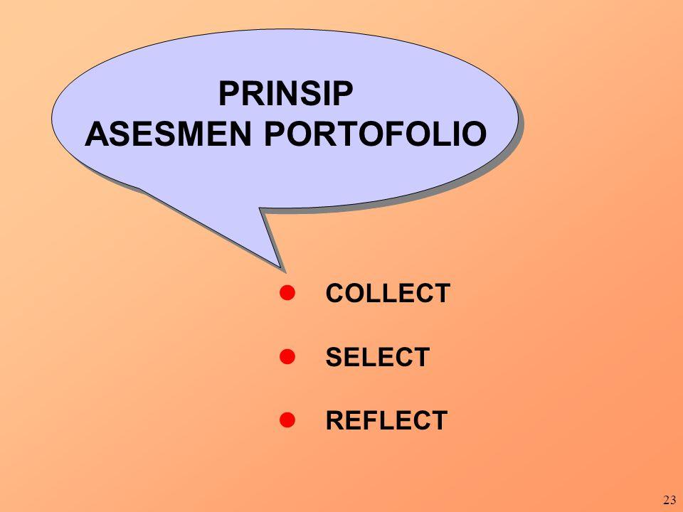 23 PRINSIP ASESMEN PORTOFOLIO COLLECT SELECT REFLECT