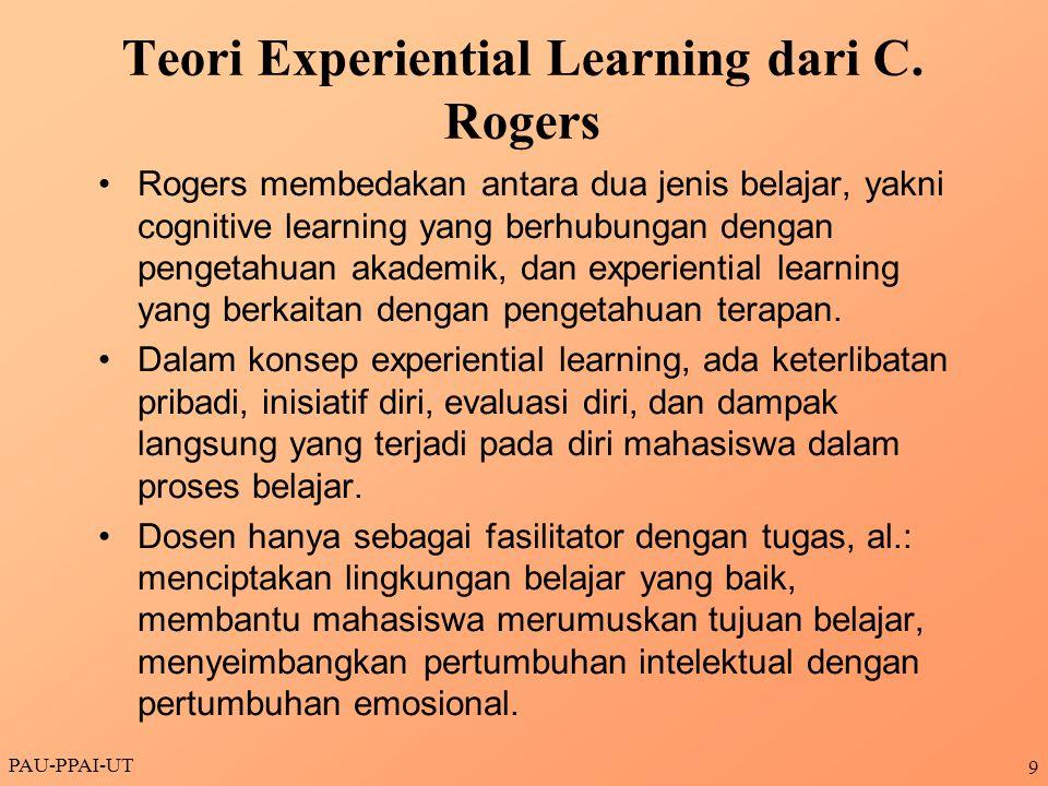 Teori Experiential Learning dari C. Rogers Rogers membedakan antara dua jenis belajar, yakni cognitive learning yang berhubungan dengan pengetahuan ak