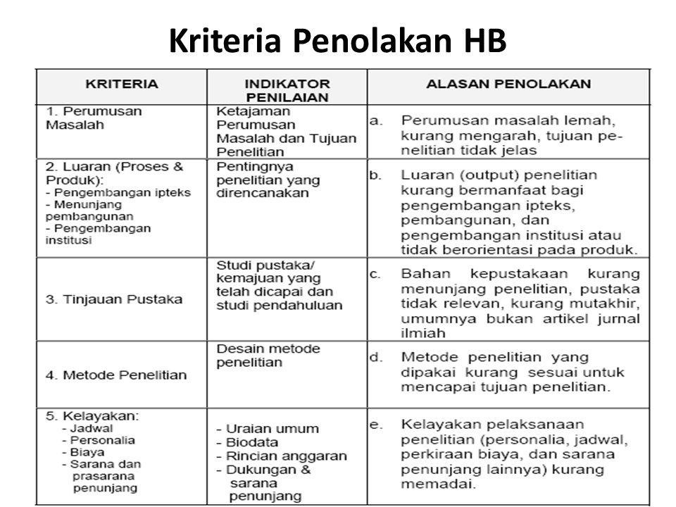 Kriteria Penolakan HB