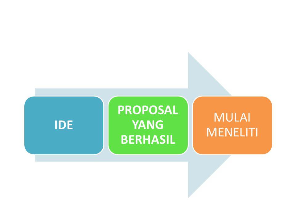 DARI IDE KE PROPOSAL Ide yang bisa diwujudkan: – Ide untuk mengatasi permasalahan (5 W + 1 H) – 'researchable' dan 'manageable'.