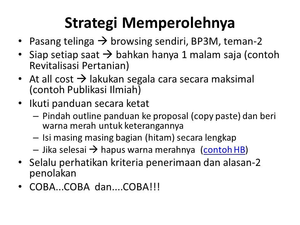 Strategi Memperolehnya Pasang telinga  browsing sendiri, BP3M, teman-2 Siap setiap saat  bahkan hanya 1 malam saja (contoh Revitalisasi Pertanian) A