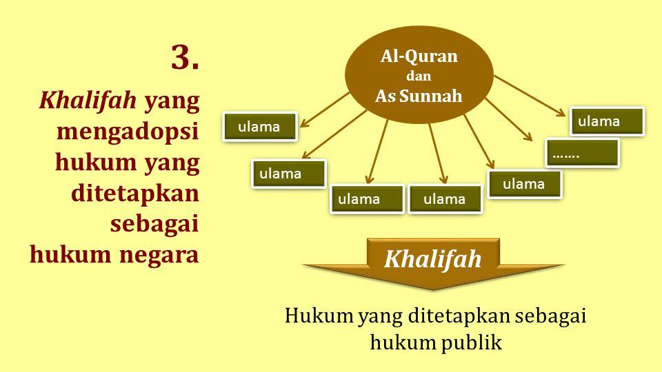 3. Khalifah yang mengadopsi hukum yang ditetapkan sebagai hukum negara ulama ……. Khalifah Al-Quran dan As Sunnah Hukum yang ditetapkan sebagai hukum p