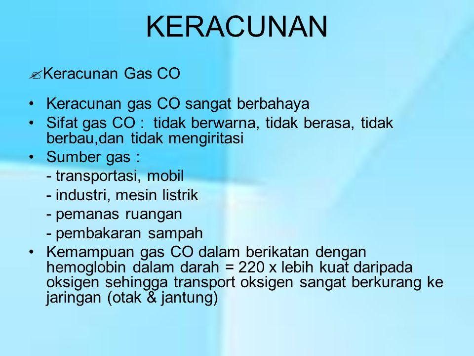 KERACUNAN Keracunan gas CO sangat berbahaya Sifat gas CO : tidak berwarna, tidak berasa, tidak berbau,dan tidak mengiritasi Sumber gas : - transportas