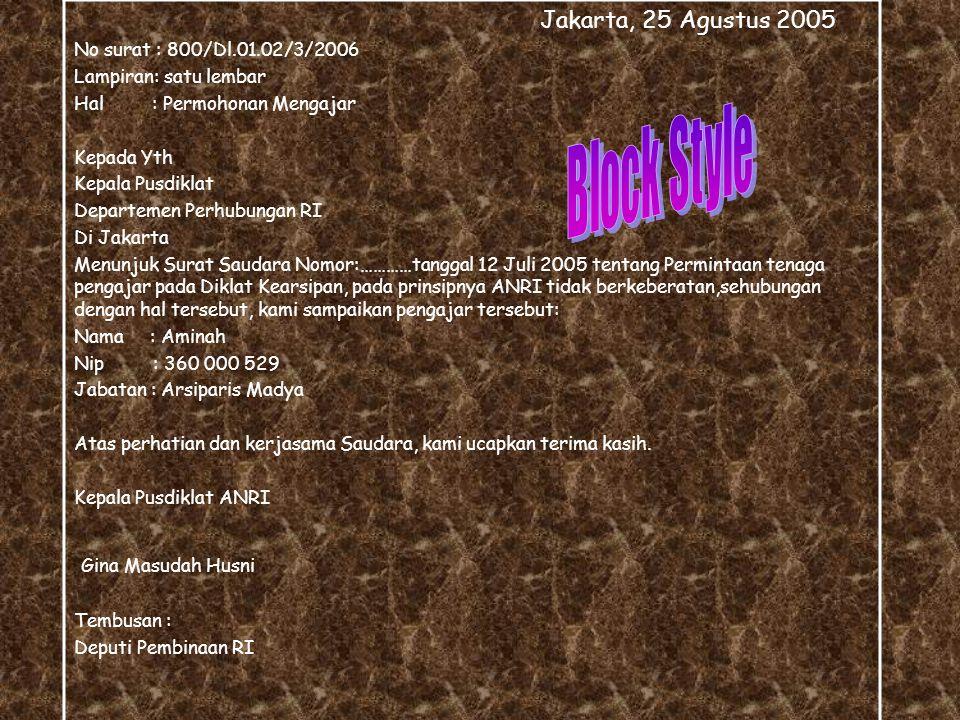 Bentuk Surat Dinas Block Style Block Style Semi Block Style Semi Block Style Idented Style Idented Style
