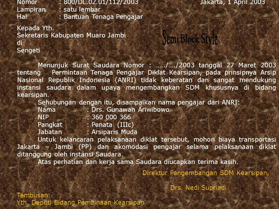 Jakarta, 25 Agustus 2005 No surat : 800/Dl.01.02/3/2006 Lampiran: satu lembar Hal : Permohonan Mengajar Kepada Yth Kepala Pusdiklat Departemen Perhubungan RI Di Jakarta Menunjuk Surat Saudara Nomor:…………tanggal 12 Juli 2005 tentang Permintaan tenaga pengajar pada Diklat Kearsipan, pada prinsipnya ANRI tidak berkeberatan,sehubungan dengan hal tersebut, kami sampaikan pengajar tersebut: Nama : Aminah Nip : 360 000 529 Jabatan : Arsiparis Madya Atas perhatian dan kerjasama Saudara, kami ucapkan terima kasih.
