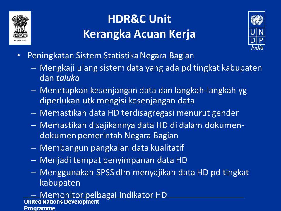 United Nations Development Programme Lasting Solutions for Development Challenges India HDR&C Unit Kerangka Acuan Kerja Peningkatan Sistem Statistika