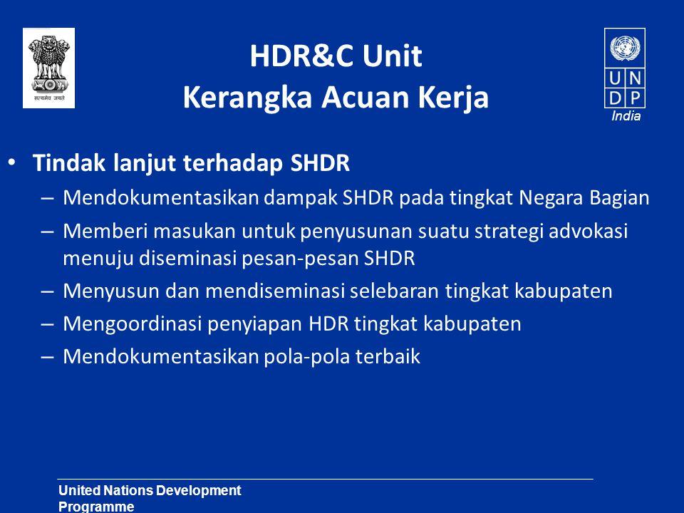 United Nations Development Programme Lasting Solutions for Development Challenges India HDR&C Unit Kerangka Acuan Kerja Tindak lanjut terhadap SHDR –