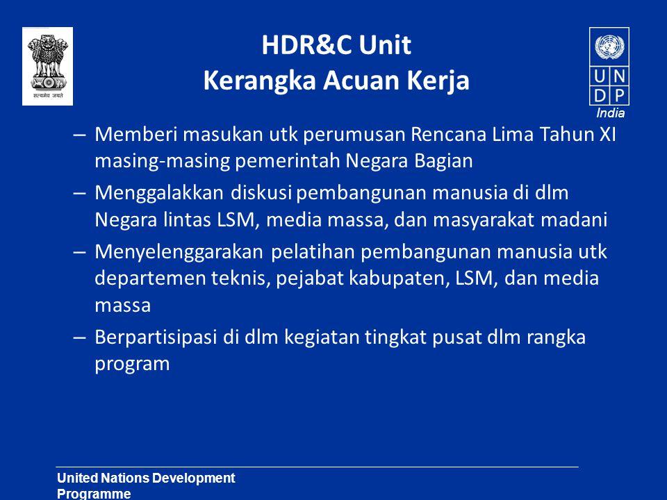 United Nations Development Programme Lasting Solutions for Development Challenges India HDR&C Unit Kerangka Acuan Kerja – Memberi masukan utk perumusa