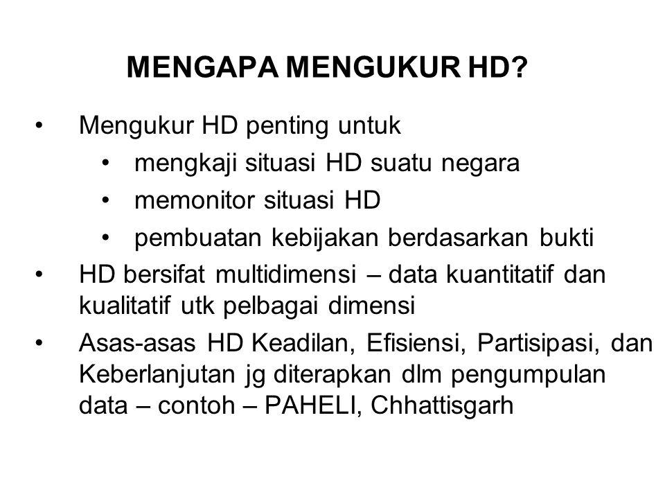 PENGUKURAN MELANGKAUI INDEKS Indeks penting tapi bukan satu-satunya cara mengukur Indeks HD merupakan jepretan luas dari rata-rata situasi gender dan pembangunan/ deprivation manusia Mereka mesti dipakai bersama data dan analisis ttg pelbagai aspek HD