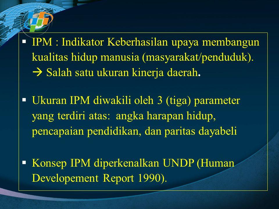  IPM : Indikator Keberhasilan upaya membangun kualitas hidup manusia (masyarakat/penduduk).  Salah satu ukuran kinerja daerah.  Ukuran IPM diwakili