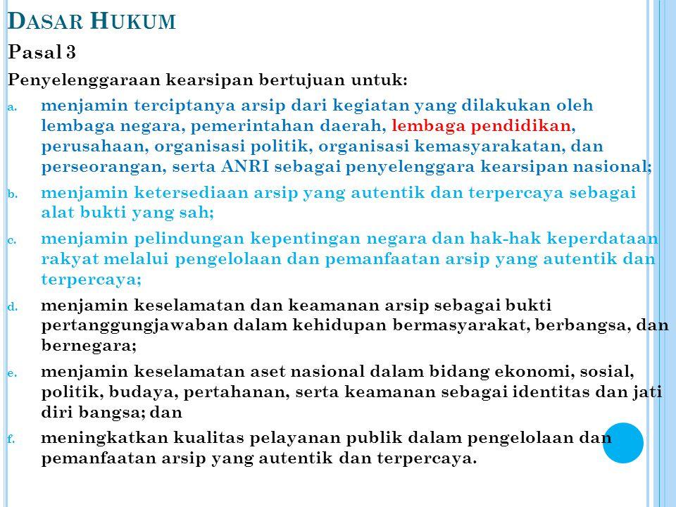 D ASAR H UKUM Pasal 3 Penyelenggaraan kearsipan bertujuan untuk: a. menjamin terciptanya arsip dari kegiatan yang dilakukan oleh lembaga negara, pemer