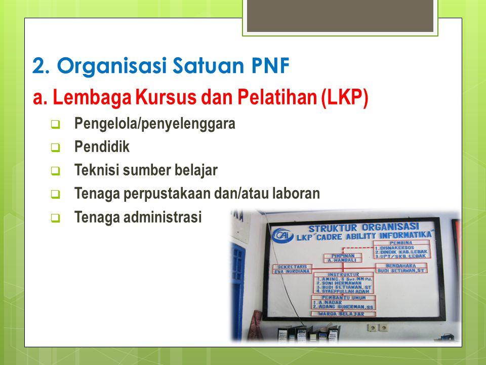 2. Organisasi Satuan PNF a. Lembaga Kursus dan Pelatihan (LKP)  Pengelola/penyelenggara  Pendidik  Teknisi sumber belajar  Tenaga perpustakaan dan
