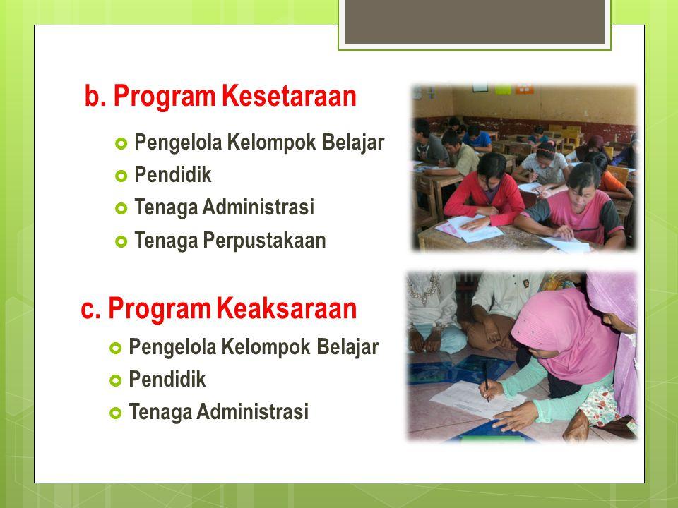 b. Program Kesetaraan  Pengelola Kelompok Belajar  Pendidik  Tenaga Administrasi c. Program Keaksaraan  Pengelola Kelompok Belajar  Pendidik  Te
