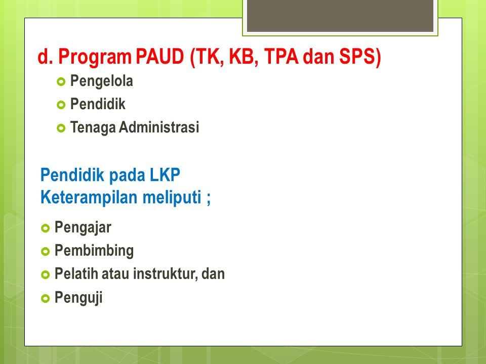 d. Program PAUD (TK, KB, TPA dan SPS)  Pengelola  Pendidik  Tenaga Administrasi Pendidik pada LKP Keterampilan meliputi ;  Pengajar  Pembimbing 