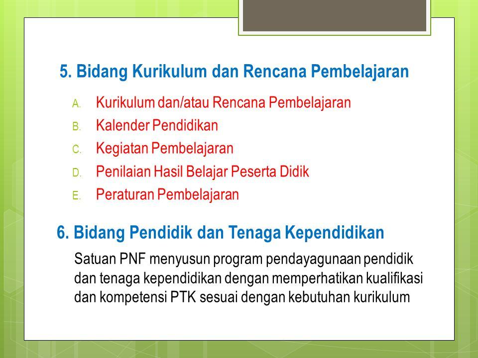 5. Bidang Kurikulum dan Rencana Pembelajaran A. Kurikulum dan/atau Rencana Pembelajaran B. Kalender Pendidikan C. Kegiatan Pembelajaran D. Penilaian H