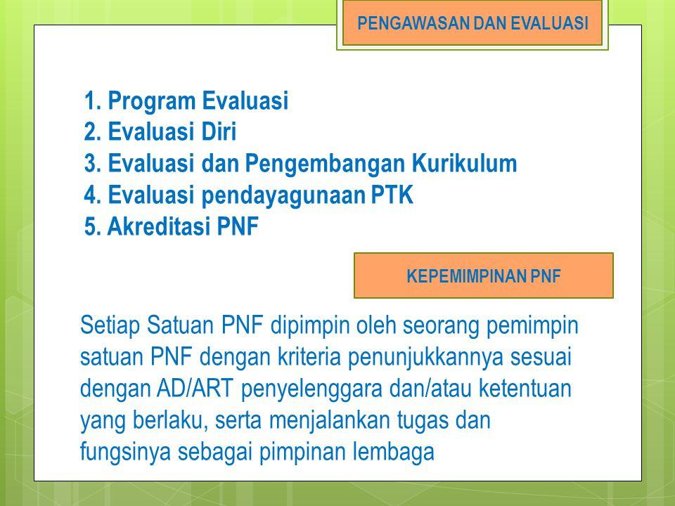 1. Program Evaluasi 2. Evaluasi Diri 3. Evaluasi dan Pengembangan Kurikulum 4. Evaluasi pendayagunaan PTK 5. Akreditasi PNF PENGAWASAN DAN EVALUASI KE