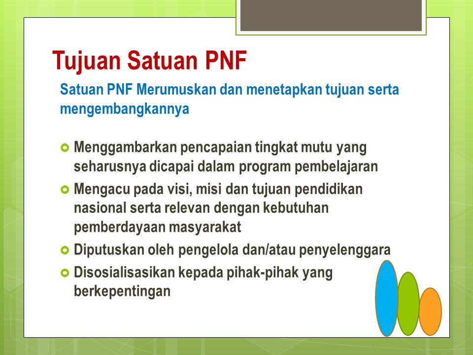 Tujuan Satuan PNF  Menggambarkan pencapaian tingkat mutu yang seharusnya dicapai dalam program pembelajaran  Mengacu pada visi, misi dan tujuan pend