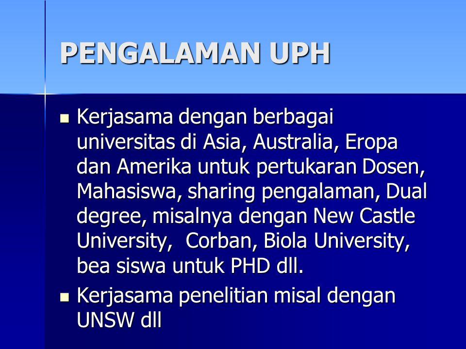 PENGALAMAN UPH Kerjasama dengan berbagai universitas di Asia, Australia, Eropa dan Amerika untuk pertukaran Dosen, Mahasiswa, sharing pengalaman, Dual