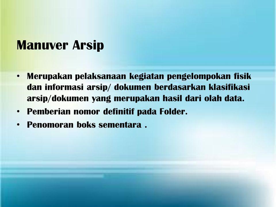 Manuver Arsip Merupakan pelaksanaan kegiatan pengelompokan fisik dan informasi arsip/ dokumen berdasarkan klasifikasi arsip/dokumen yang merupakan has