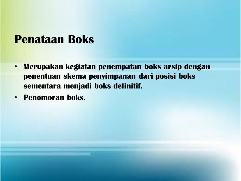 Penataan Boks Merupakan kegiatan penempatan boks arsip dengan penentuan skema penyimpanan dari posisi boks sementara menjadi boks definitif. Penomoran