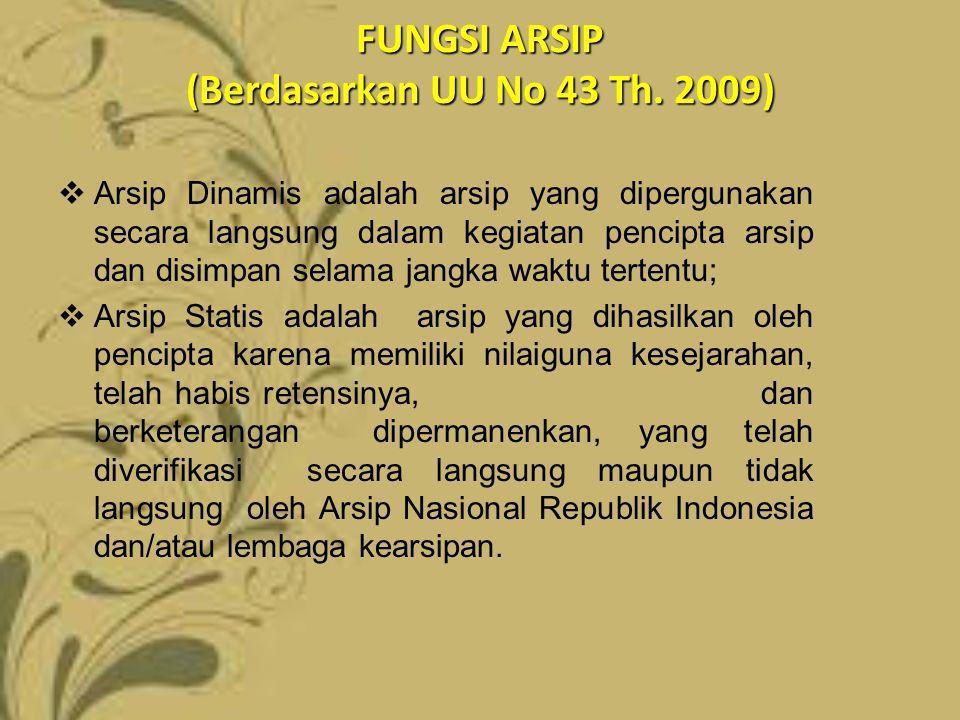 FUNGSI ARSIP (Berdasarkan UU No 43 Th. 2009)  Arsip Dinamis adalah arsip yang dipergunakan secara langsung dalam kegiatan pencipta arsip dan disimpan