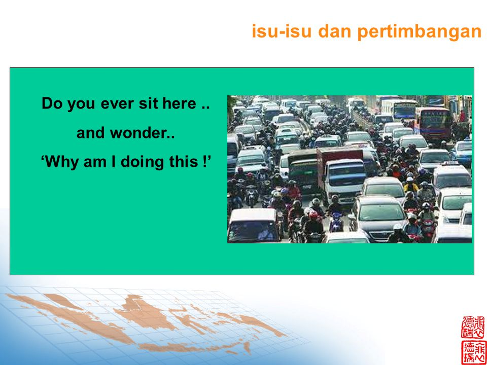 Do you ever sit here.. and wonder.. 'Why am I doing this !' isu-isu dan pertimbangan