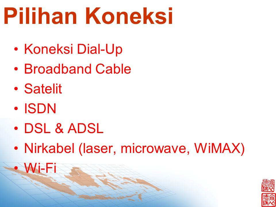 Pilihan Koneksi Koneksi Dial-Up Broadband Cable Satelit ISDN DSL & ADSL Nirkabel (laser, microwave, WiMAX) Wi-Fi